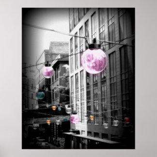 Affiche urbaine d'art de globes de réverbère