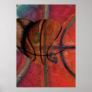 affiche urbaine de boule de basket-ball