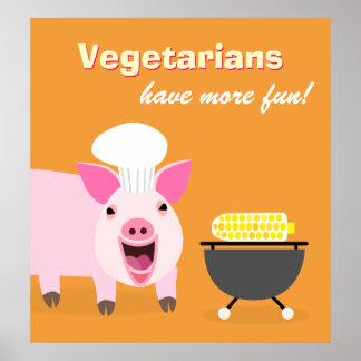 Affiche végétarienne de porc