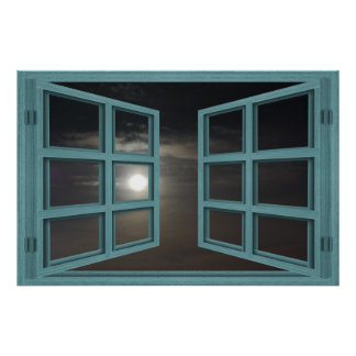 Affiche verte de fenêtre ouverte de carreau en posters