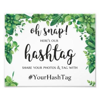 Affiche verte de mariage d'été de signe de hashtag impression photo