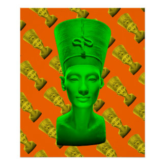 Affiche verte de Nefertiti Poster