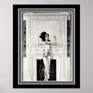 Affiche vintage 16 x 20 d'annonce d'art déco de