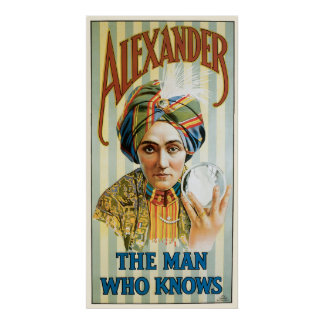 Affiche vintage 1915 de magicien d'Alexandre