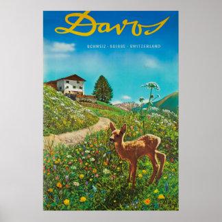 Affiche vintage animale de voyage de Davos Suisse Poster