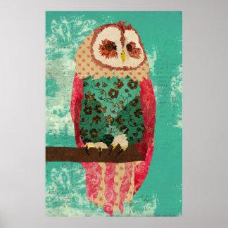Affiche vintage d'art de turquoise de hibou de Ros