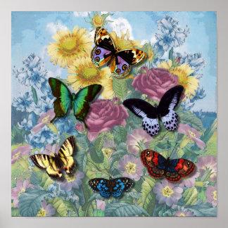 """Affiche vintage de """"beaux papillons"""""""