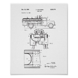 Affiche vintage de brevet de camion de pompiers, poster