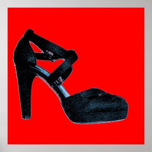 Affiche vintage de chaussure de talon haut d'art d