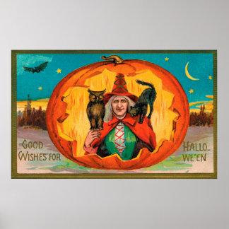 Affiche vintage de décor de partie de hibou de posters