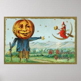 Affiche vintage de décor de partie de sorcière de posters