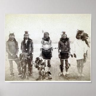 Affiche vintage de groupe de guerrier de Natif amé
