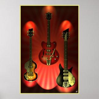 Affiche vintage de guitares