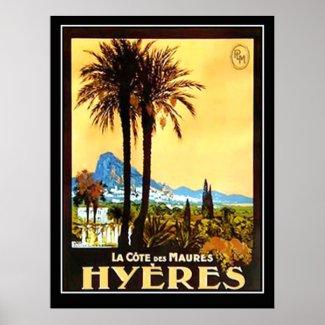 Affiche vintage de la publicité de Hyères La côte des Maures