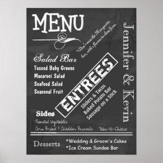 Affiche vintage de menu de mariage de regard de ta posters