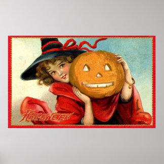 Affiche vintage de partie de Halloween de sorcière Posters