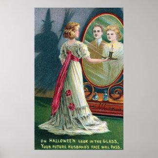 Affiche vintage de partie de sorcière et de femme posters