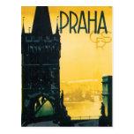 Affiche vintage de Prague (Praha) Carte Postale