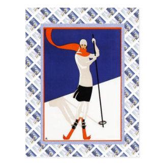 Affiche vintage de Raulway de Suisse, ski Carte Postale