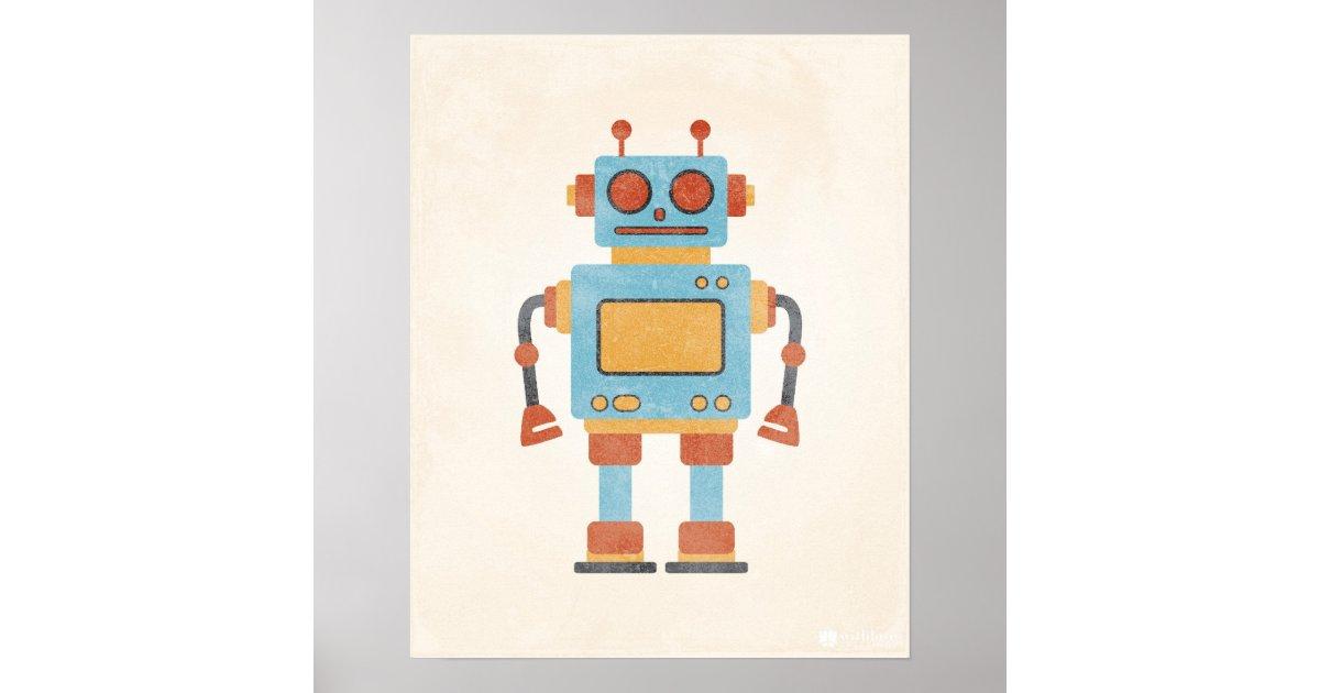 affiche vintage de robot posters zazzle - Affiche Garcon Robot