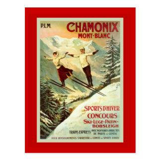 Affiche vintage de ski, Chamonix, Mt Blanc Carte Postale