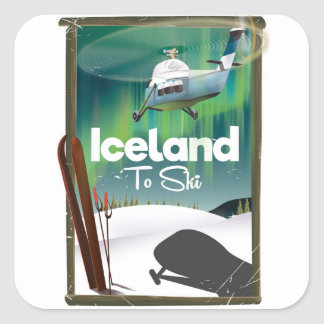 Affiche vintage de ski de l'Islande Sticker Carré