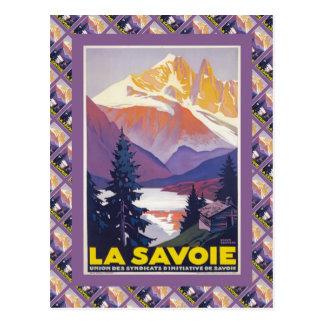 Affiche vintage de ski France La la Savoie Carte Postale
