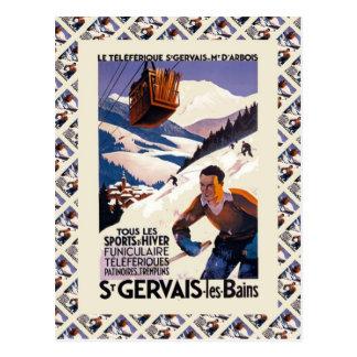 Affiche vintage de ski, France, les Bains de St Carte Postale