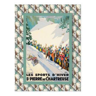 Affiche vintage de ski, France, St Pierre de Carte Postale