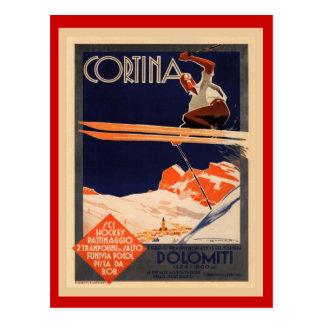 Affiche vintage de ski, Italie, dolomites Cortina Carte Postale