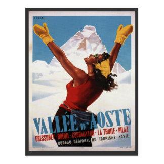 Affiche vintage de ski, Italie, Val d'Aoste Cartes Postales
