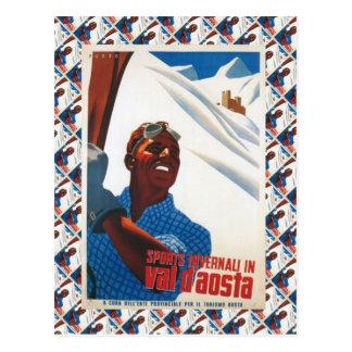 Affiche vintage de ski, Italie, Val d'Aoste Carte Postale