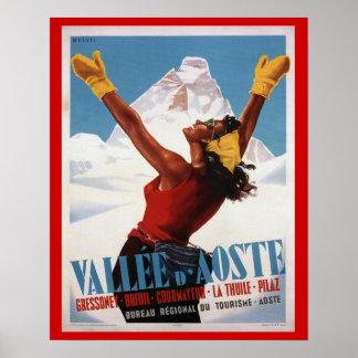 Affiche vintage de ski, Italie, Val d'Aoste Posters