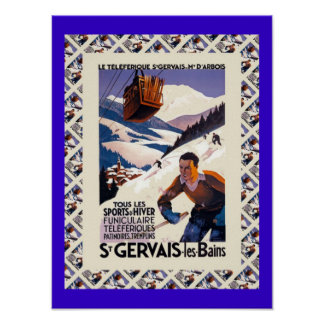 Affiche vintage de ski, les Bains de Gervais de sa