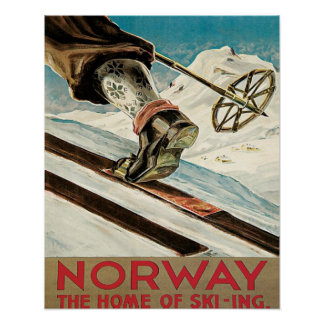 Affiche vintage de ski, Norvège, la maison du ski
