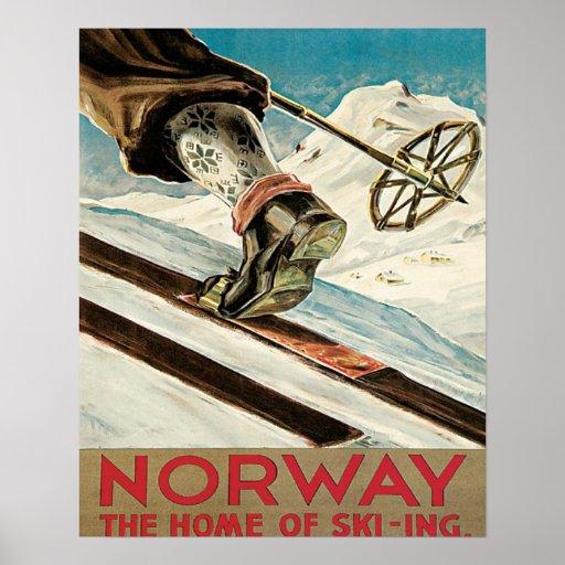 Affiche vintage de ski Norvège la maison du ski
