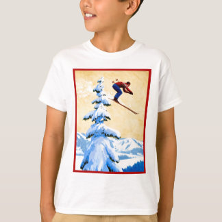 Affiche vintage de ski, pullover de ski et pins