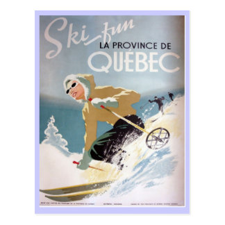 Affiche vintage de ski, Québec Carte Postale