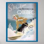 Affiche vintage de ski, Québec pour des sports d'h