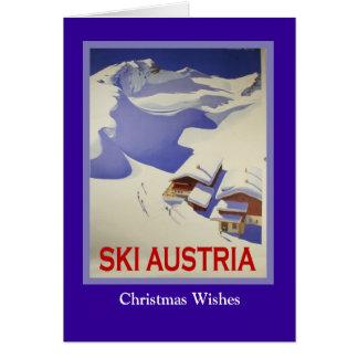 Affiche vintage de ski, ski Autriche Carte De Vœux