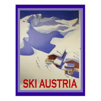 Affiche vintage de ski, ski Autriche Carte Postale