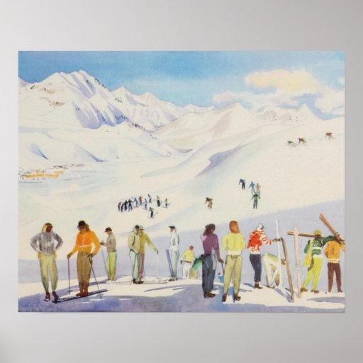 Affiche vintage de ski,    skieurs sur la montagne