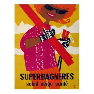 Affiche vintage de ski, Superbagneres Carte Postale