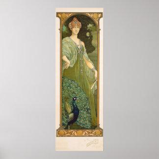 Affiche vintage de Sonrel de conception de paon de Posters