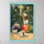 Affiche vintage de souris de Noël