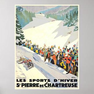 Affiche vintage de station de sports d hiver de Su