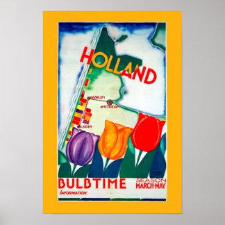 Affiche vintage de temps d'ampoule de la Hollande Poster