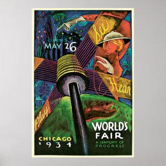 Affiche vintage de tourisme de voyage d'Exposition Poster