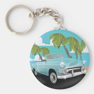 Affiche vintage de trajet en voiture du Cuba Porte-clés