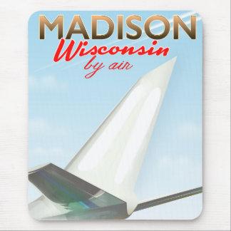 Affiche vintage de vol de Madison le Wisconsin Tapis De Souris